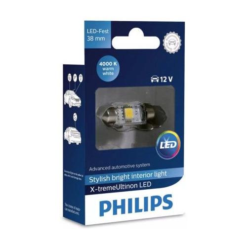 Лампа автомобильная светодиодная Philips 128584000KX1, T10,5x38, 12В, 1шт