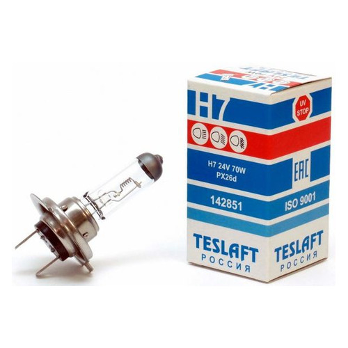Лампа автомобильная галогенная TESLAFT 142851, H7, 24В, 70Вт, 1шт