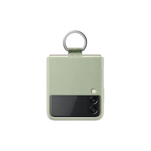 Чехол (клип-кейс) SAMSUNG Silicone Cover with Ring, для Samsung Galaxy Z Flip3, оливковый [ef-pf711tmegru]