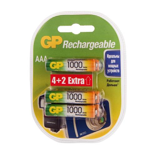 AAA Аккумулятор GP Rechargeable 1000AAAHC4/2, 6 шт. 1000мAч
