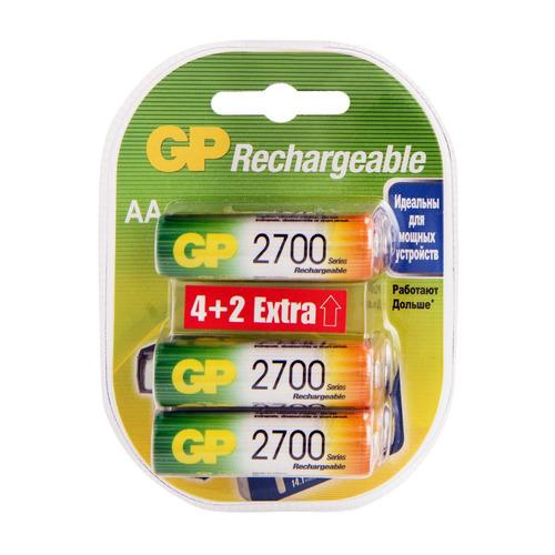 AA Аккумулятор GP Rechargeable 2700AAHC4/2, 6 шт. 2700мAч