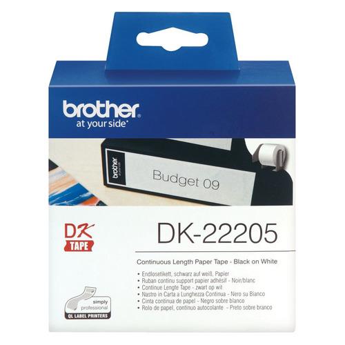 Фото - Картридж BROTHER DK22205, 62мм, черный шрифт, белый фон, 30.48м картридж brother dk22223 50мм черный шрифт белый фон 30м