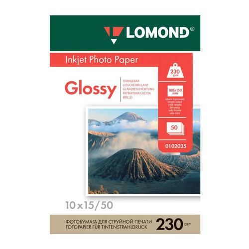 Фотобумага Lomond 0102035 10x15/230г/м2/50л./белый глянцевое для струйной печати фотобумага lomond а4 240г м2 глянцевая 50л 102135