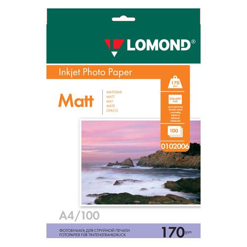 Фотобумага Lomond 0102006 A4/170г/м2/100л./белый матовое/матовое для струйной печати бумага фото lomond а4 суперглянец 20л 170г м2 одностор