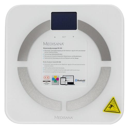цены Напольные весы MEDISANA BS 430 Connect, до 180кг, цвет: белый [40422]