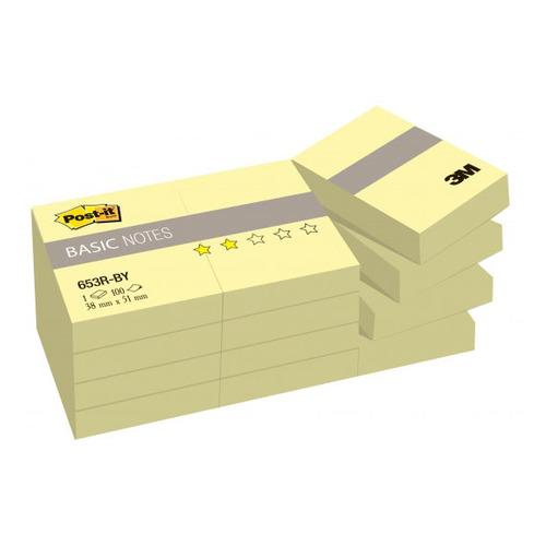 цена на Блок самоклеящийся бумажный 3M Post-it Basic 653R-BY 7100033526 38x51мм 100лист. желтый (упак.:12шт)