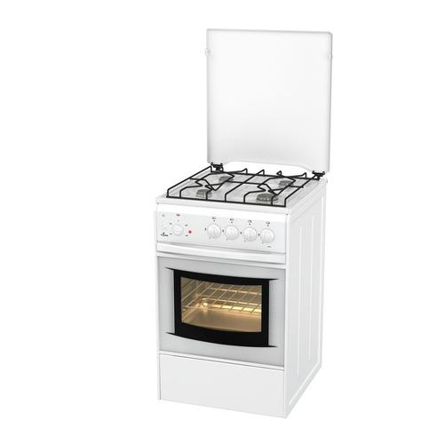 Газовая плита FLAMA AK 1411 W, электрическая духовка, белый электрическая плита flama ae 1403 w белый