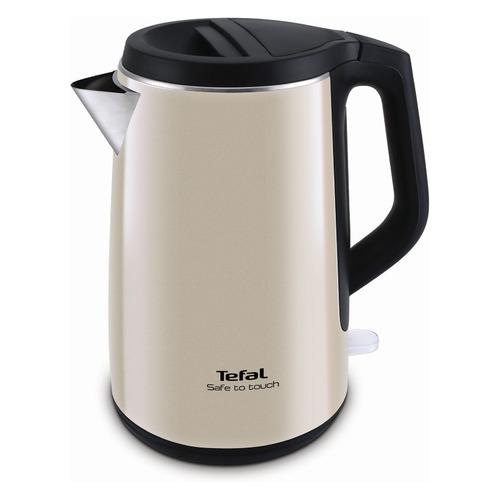 Чайник электрический TEFAL KO371 I30 Safe to touch, 2200Вт, бежевый и черный чайник tefal ko 371 safe to touch