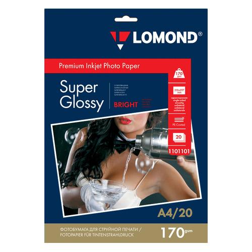 Фотобумага Lomond 1101101 A4/170г/м2/20л./белый высокоглянцевое для струйной печати бумага фото lomond а4 суперглянец 20л 170г м2 одностор