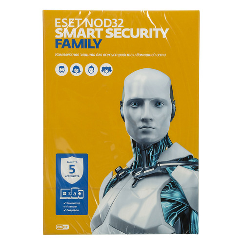 ПО Eset NOD32 Smart Security Family 5 ПК 1 год Box (NOD32-ESM-NS(BOX)-1-5) по для сервиса м видео office 365 home eset smart security family 5у 1г