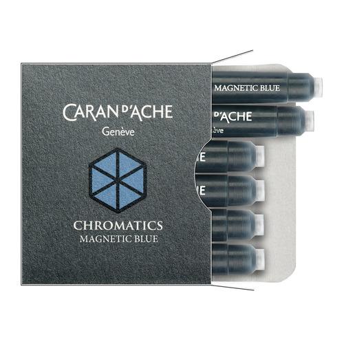 Картридж Carandache Chromatics (8021.149) Magnetic blue чернила для ручек перьевых (6шт) картридж waterman international 52011 s0110940 черный чернила для ручек перьевых 6шт