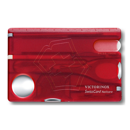 Швейцарская карта Victorinox SwissCard Nailcare (0.7240.T) красный полупрозначный коробка подарочная цена