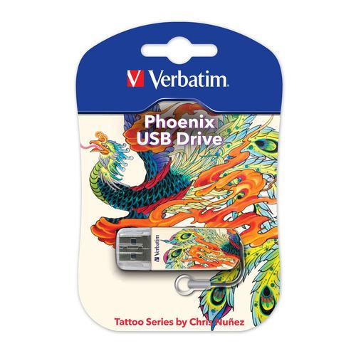 Флешка USB VERBATIM Store n Go Mini Tattoo Edition Phoenix 16ГБ, USB2.0, белый и рисунок [49887]