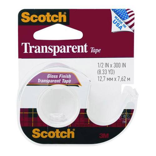 Упаковка клейкой ленты 3M Scotch Transparent 144SS-ENG, 12.7мм, 7.6м, 7100010900 12 шт./кор.