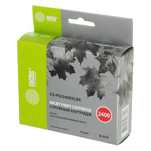 Картридж CACTUS CS-PGI2400XLBK, черный картридж совместимый для струйных принтеров cactus cs pgi2400xlm пурпурный для canon maxify ib4040 мв5040 мв5340 20 4мл cs pgi2400xlm