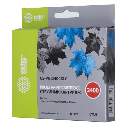 Картридж CACTUS CS-PGI2400XLC голубой картридж cactus cs ph7400c голубой