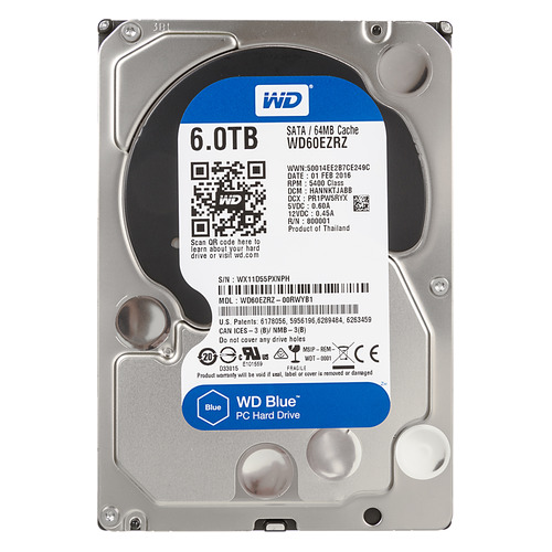 Жесткий диск WD Blue WD60EZRZ, 6Тб, HDD, SATA III, 3.5 жесткий диск wd blue wd10ezrz 1тб hdd sata iii 3 5