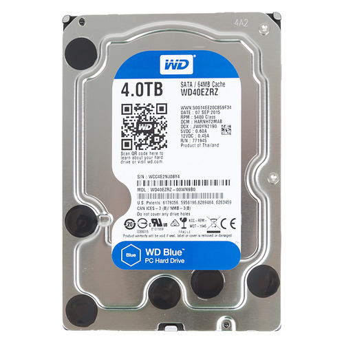 Жесткий диск WD Blue WD40EZRZ, 4ТБ, HDD, SATA III, 3.5 жесткий диск wd blue wd10ezrz 1тб hdd sata iii 3 5