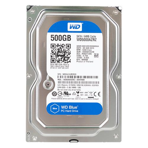Жесткий диск WD Blue WD5000AZRZ, 500ГБ, HDD, SATA III, 3.5 жесткий диск wd blue wd10ezrz 1тб hdd sata iii 3 5