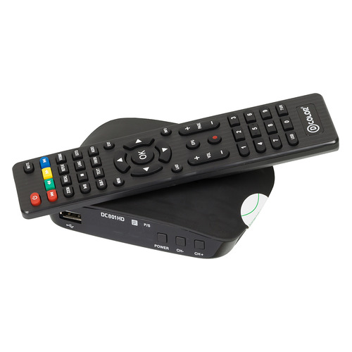 Ресивер DVB-T2 D-COLOR DC801HD, черный тюнер dvb t2 d color dc700hd