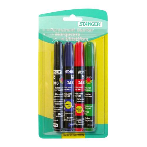 Набор перманентных маркеров STANGER M235, 4 цвет., 1-3 мм, круглый пишущий наконечник [712012] 12 шт./кор. недорого