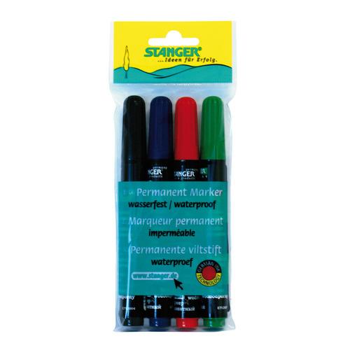 Набор перманентных маркеров STANGER M236, 4 цвет., 1-4 мм, скошенный пишущий наконечник [712020] 12 шт./кор. недорого