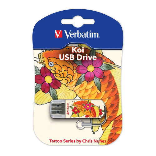 Флешка USB VERBATIM Store n Go Mini Tattoo Koi 16Гб, USB2.0, белый и рисунок [49886] usb flash накопитель verbatim store n go mini tattoo koi