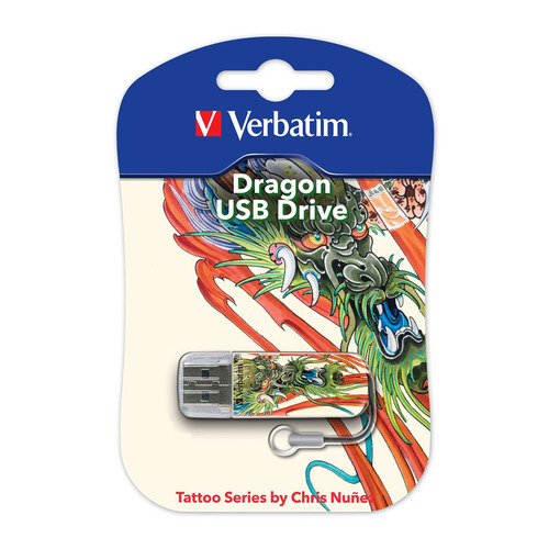 Фото - Флешка USB VERBATIM Mini Tattoo Dragon 16Гб, USB2.0, белый и рисунок [49888] sushi dragon