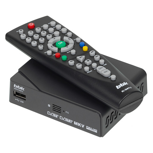 лучшая цена Ресивер DVB-T2 BBK SMP015HDT2, темно-серый