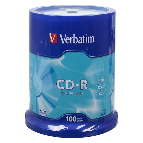 цена на Оптический диск CD-R VERBATIM 700Мб 52x, 100шт., cake box [43411]