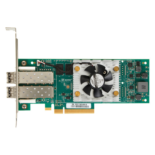 Контроллер Qlogic QLE2672-CK 16Gb Dual Port FC HBA x8 PCIe LC multi-mode optic активное охлаждение контроллер qlogic qle2672 ck 16gb dual port fc hba x8 pcie lc multi mode optic активное охлаждение