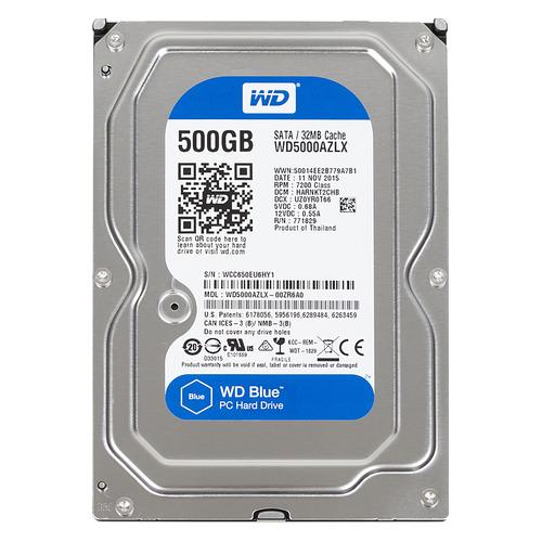 Жесткий диск WD Blue WD5000AZLX, 500ГБ, HDD, SATA III, 3.5 жесткий диск wd blue wd10ezrz 1тб hdd sata iii 3 5
