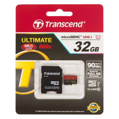 Карта памяти microSDHC UHS-I TRANSCEND Ultimate 32 ГБ, Class 10, TS32GUSDHC10U1, 1 шт., переходник SD карта памяти transcend 32gb microsdhc class 10 uhs 1 ts32gusdu1 ts32gusdu1