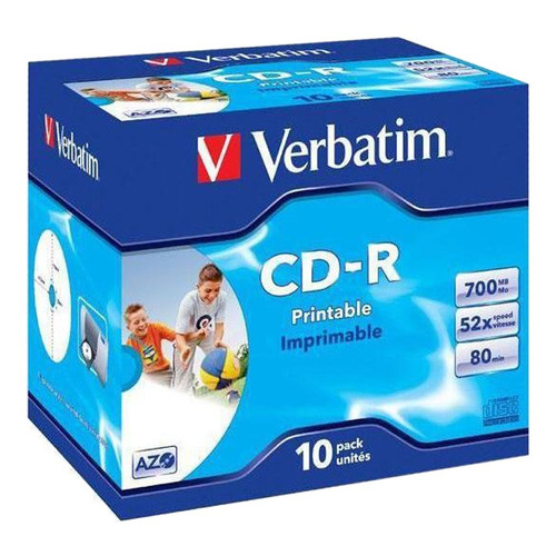 Оптический диск CD-R VERBATIM 700Мб 52x, 10шт., jewel case, printable [43325] диски cd r 700mb 52x jewel 10шт printable verbatim 43325 4