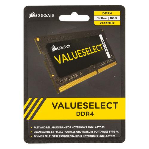 Модуль памяти CORSAIR CMSO8GX4M1A2133C15 DDR4 - 8Гб 2133, SO-DIMM, Ret модуль памяти corsair value select cmv8gx4m1a2400c16 ddr4 8гб 2400 dimm ret