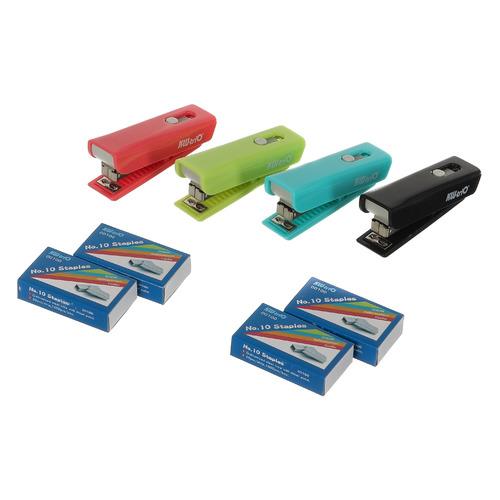 Комплект степлер+скобы ручной Kw-Trio 05304M Twist N10 (10листов) встроенный антистеплер ассорти 50с 24 шт./кор. цена и фото