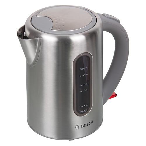 Чайник электрический BOSCH TWK7901, 2200Вт, серебристый чайники электрические bosch чайник bosch twk7801 1 7л 2200вт