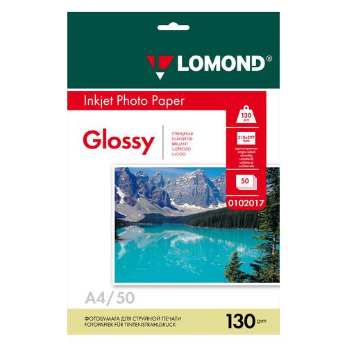 Фотобумага Lomond 0102017 A4/130г/м2/50л./белый глянцевое для струйной печати фотобумага lomond а4 240г м2 глянцевая 50л 102135