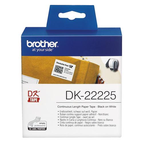 Фото - Картридж BROTHER DK22225, 38мм, черный шрифт, белый фон, 30.5м картридж brother dk22223 50мм черный шрифт белый фон 30м