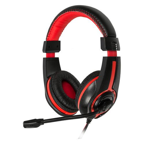 Фото - Гарнитура OKLICK HS-L200, для компьютера, мониторные, черный / красный [y-819] гарнитура игровая oklick hs l330g nightmare для компьютера мониторные черный [n 6]
