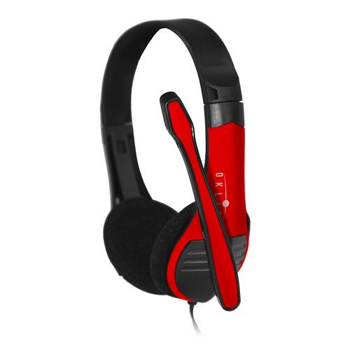 Гарнитура OKLICK HS-M150, для контактных центров, накладные, черный / красный [no-003n] гарнитура plantronics pl hw710 для контактных центров накладные черный