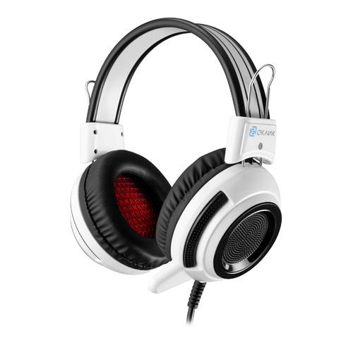 Гарнитура игровая OKLICK HS-G300 ARMAGEDDON, для компьютера, мониторные, белый / черный [ah-v1w] компьютерная гарнитура oklick hs g300 armageddon черный белый