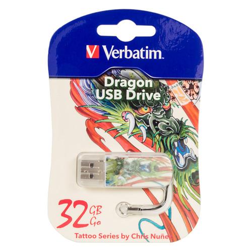 Фото - Флешка USB VERBATIM Mini Tattoo Dragon 32Гб, USB2.0, белый и рисунок [49899] sushi dragon