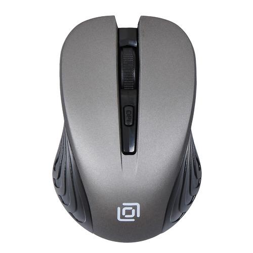 Мышь OKLICK 545MW, оптическая, беспроводная, USB, черный и серый [tm-5500 grey] мышь беспроводная hp 200 silk золотистый чёрный usb 2hu83aa