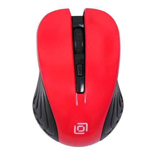 цена на Мышь OKLICK 545MW, оптическая, беспроводная, USB, черный и красный [tm-5500 red]
