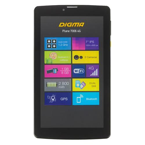 Планшет DIGMA Plane 7006 4G, 1GB, 8GB, 3G, 4G, Android 7.0 черный [ps7041ml / ps7041pl] цена