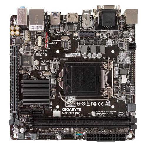 Материнская плата GIGABYTE GA-H110N, LGA 1151, Intel H110, mini-ITX, Ret материнская плата gigabyte ga z270m d3h lga 1151 matx ret