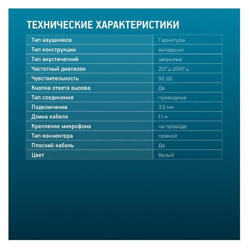 Наушники с микрофоном OKLICK HS-S-220, 3.5 мм, вкладыши, белый [d2] гарнитура oklick hs s 410 вкладыши золотистый проводные