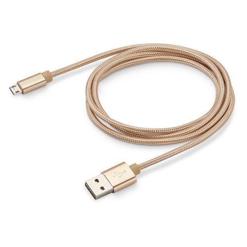 цена на Кабель BURO Reversible Braided, micro USB B (m), USB A(m), 1м, золотистый [bhp microusb 1m braided]