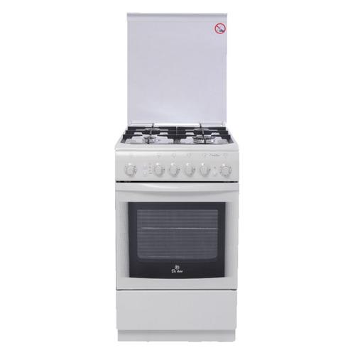 Газовая плита DE LUXE 506040.01г чр, газовая духовка, белый газовая плита de luxe 506040 05г газовая духовка белый